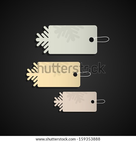 vector labels, tags with snowflake - stock vector