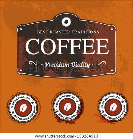 Vector labels with coffee stains - stock vector