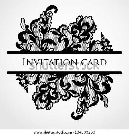 Vector lace card - stock vector