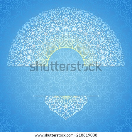 Vector lace card in Eastern style on scroll work background.Ornate element for New Year's design and place for text. Ornamental pattern for wedding invitations, greeting cards. Elegant winter decor.  - stock vector