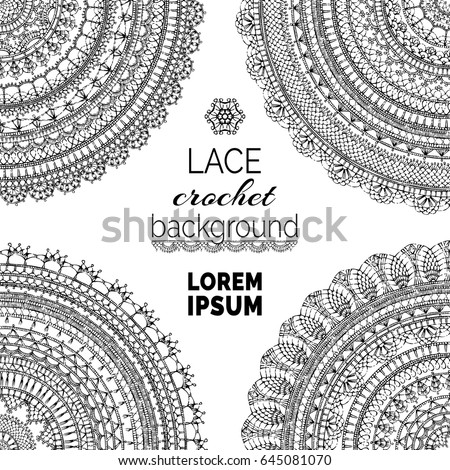Vector Lace Crochet Background Handmade Ornate Stock Vector Royalty