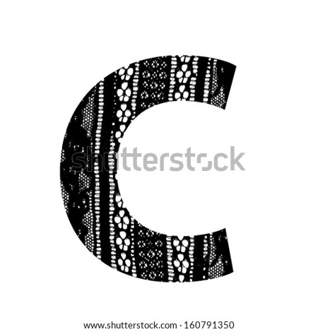 Vector lace font - letter c - stock vector