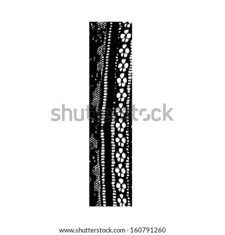 Vector lace font - letter l - stock vector