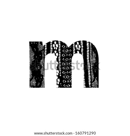 Vector lace font - letter m - stock vector