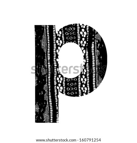 Vector lace font - letter p - stock vector