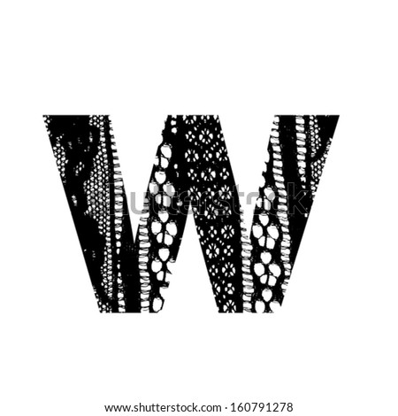 Vector lace font - letter w - stock vector