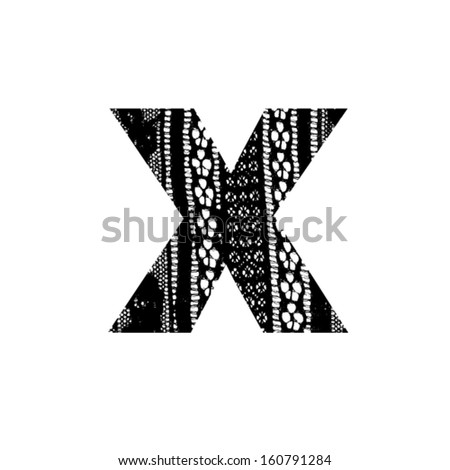 Vector lace font - letter x - stock vector