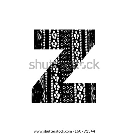 Vector lace font - letter z - stock vector