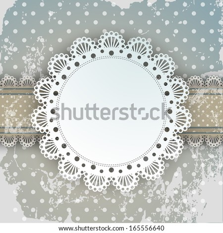 Vector Lace Frame elegant unusual card for old aged background with beautiful design elements - stock vector