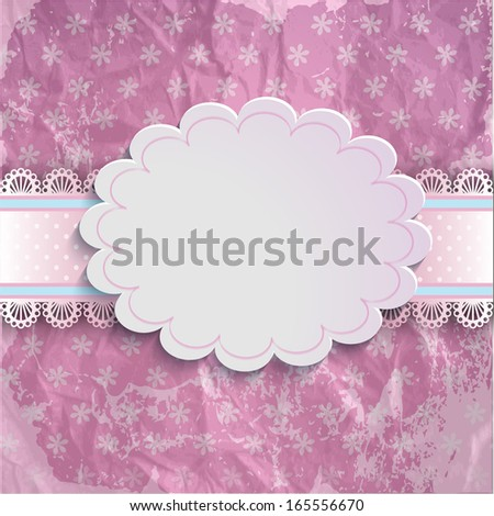 Vector Lace Frame elegant unusual card for old aged background with beautiful pink design elements - stock vector