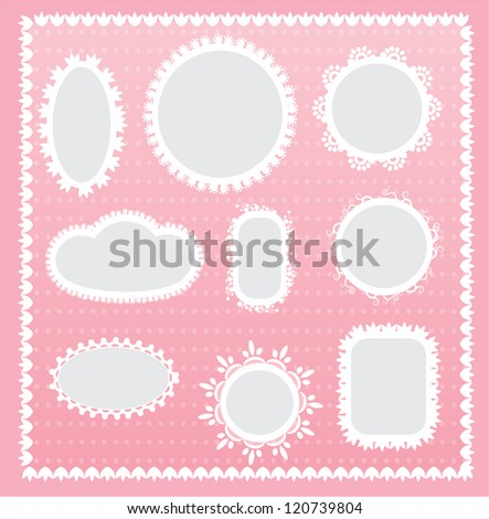 Vector lace frame set - stock vector