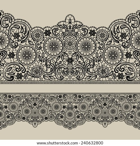 Vector lace ribbon. Seamless background - stock vector