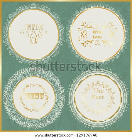 vector lacy napkins with golden frame on crumpled paper texture, fully editable eps 10 file,seamless brushes included - stock vector
