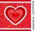 Vector lacy Valentines day heart greeting card on ornate background - stock vector