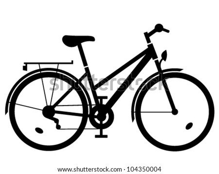 vector lady bike black silhouette