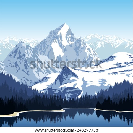 Vector lake in mountains - stock vector