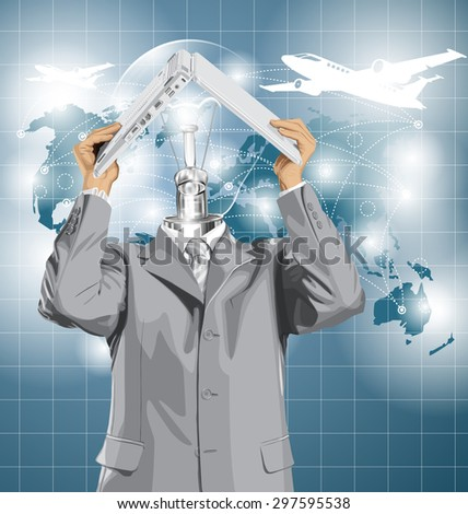 Vector lamp head business man travel, hides under the laptop in his hands - stock vector