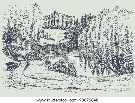 Vector landscape. A cozy corner of the palace park with a bench near the bridge over the river - stock vector
