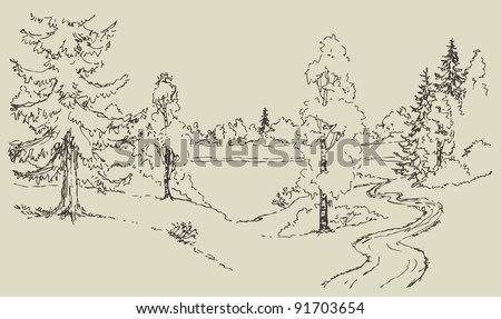 Vector landscape. A winding dirt road among rolling meadows with trees leads to the forest lake - stock vector