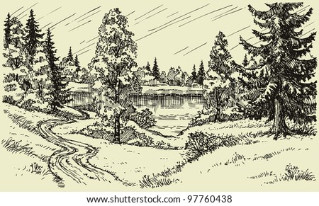 Vector landscape. A winding dirt road through the trees in the field leads to the lake - stock vector