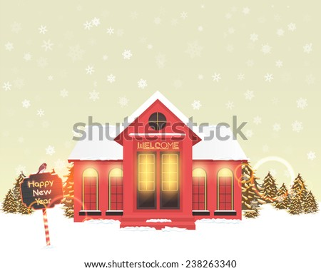 Vector Landscape and Christmas Hotel, Cottage, House Blue Background, Banner or Card Illustration  - stock vector