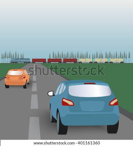Vector landscape background: road with cars in green valley and  freight train. Flat design - stock vector