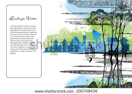 Vector landscape background with bike. Banner design