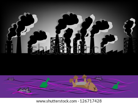 Vector landscape ecologically - Sewage plant. - stock vector