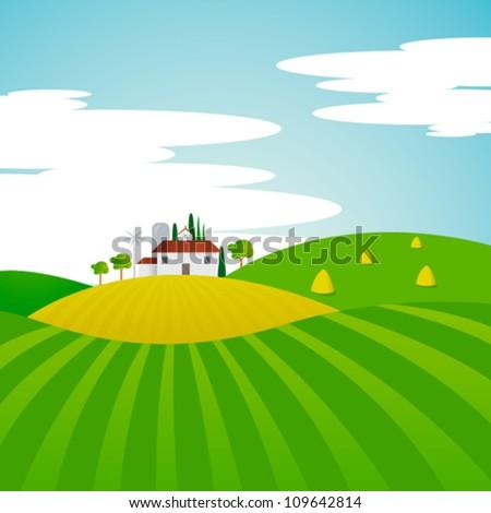Vector Landscape - Farm and fields - stock vector