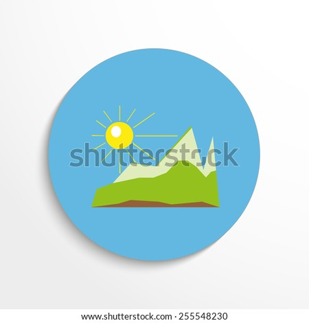 Vector landscape flat web icon. - stock vector