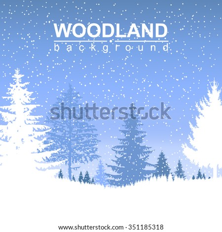 Vector landscape. Forest. Winter. It is snowing.
