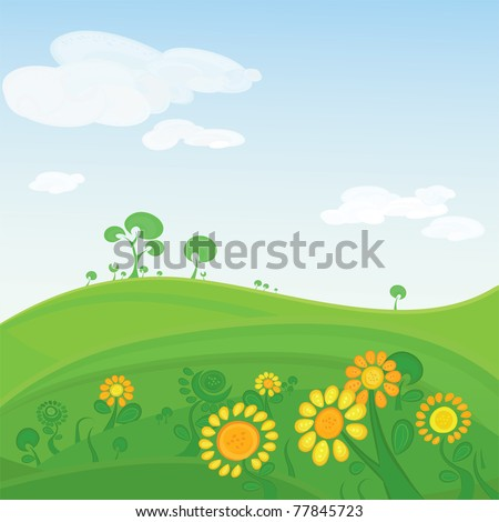 Vector landscape. Green valley with flowers