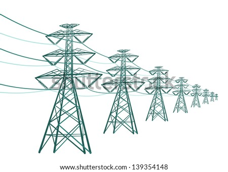Vector landscape high voltage pole  - stock vector