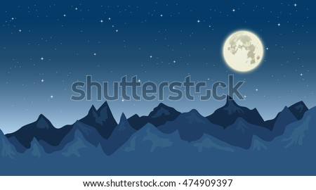 Vector landscape of nightly mountains, moon and sky full of stars. Background for web design.