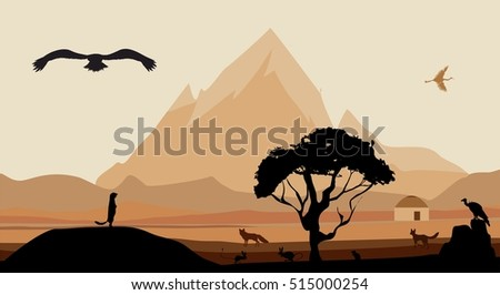 Vector landscape of wild valley and mountains, silhouettes of animals, trees,mountains