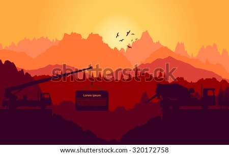 Vector landscape. Panorama of mountains.  - stock vector