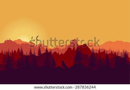 Vector landscape. Panorama of mountains sunset - stock vector