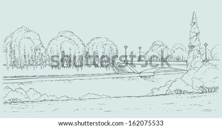 Vector landscape. Panoramic views of the river promenade with green willow trees and lush shrubbery and a bridge with lanterns