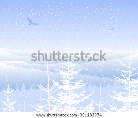 Vector landscape. Silhouette of mountains and coniferous trees. Blue shades. Winter. Cold.