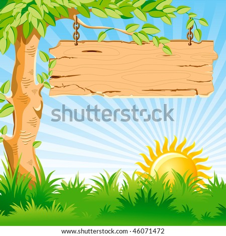 Vector landscape. Sunrise. On a tree branch hanging an old wooden pointer. - stock vector