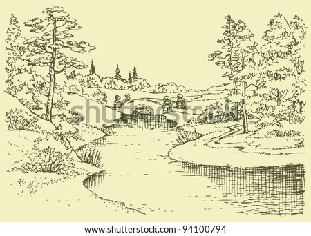 Vector landscape. The ancient bridge over a small river in the summer forest