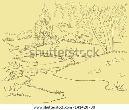Vector landscape. The path passes through a stream on a log in the autumn forest - stock vector