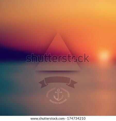 Vector landscape, web and mobile interface background. Corporate website design.  Nature backdrop. Vector. Editable. Unfocused. Wreath. Seaside background. Badge. Blurred Sunset, sunrise wallpaper - stock vector