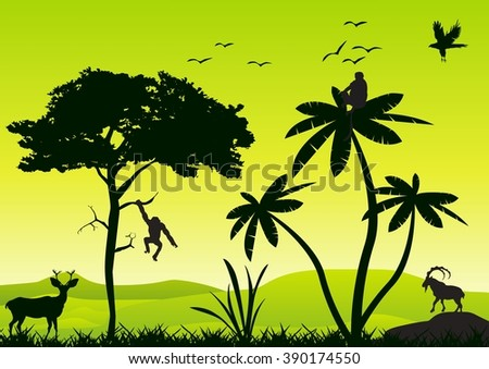 Vector landscape wildlife silhouette. Trees. grass, animals silhouette. - stock vector