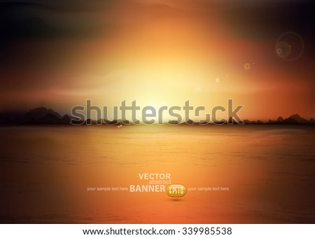 vector landscape with a rising sun and mountains - stock vector