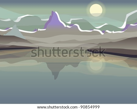 Vector landscape with mountain - stock vector