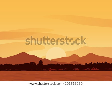 Vector landscape with mountains and sea  - stock vector