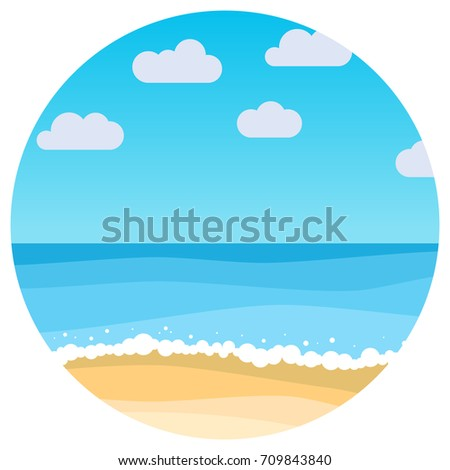 Vector Landscape With Summer Beach In Circle Waves Of The Sandy Blue Sky