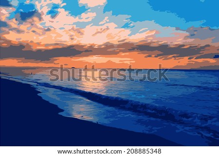 Vector landscape with sunset on the sea.  - stock vector