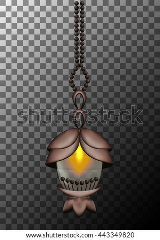 Vector lantern isolated on a gray background, eps10